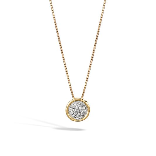 Bamboo Pendant Necklace in 18K Gold with Diamonds, White Diamond, large