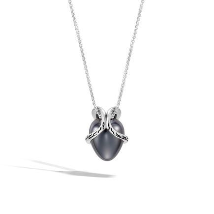 Classic Chain Pendant Necklace In Silver with 12MM Gemstone