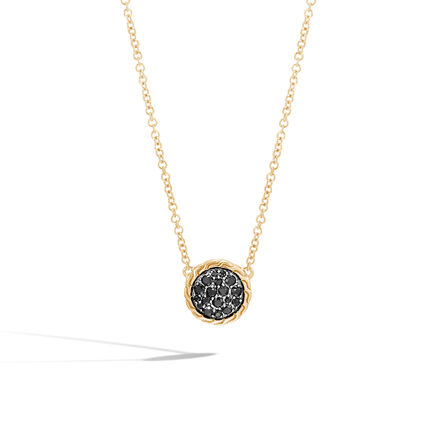 Classic Chain Round Necklace in 18K Gold with Gemstone