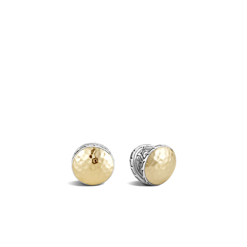 Classic Chain 15MM Reversible Earrings, Hammered 18K Gold, Silver, , large