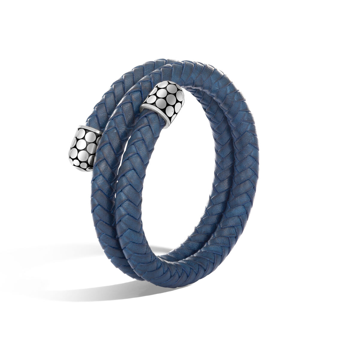 Dot Double Coil Bracelet in Silver and Leather