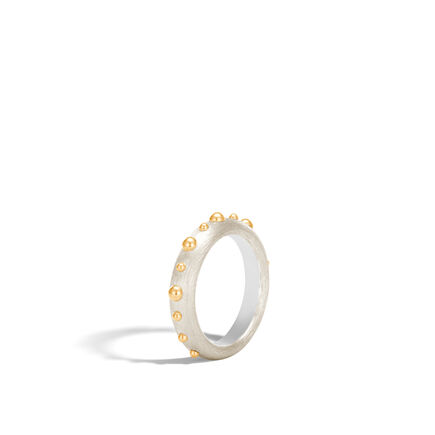 Dot 4.5MM Band Ring in Brushed Silver and 18K Gold