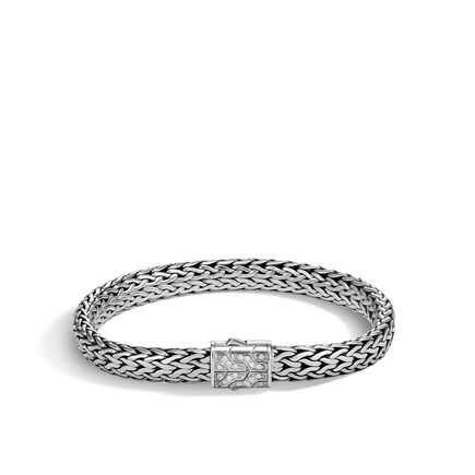 Classic Chain 7.5MM Bracelet in Silver with Diamonds
