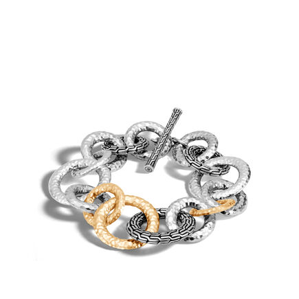 Classic Chain 29.5MM Link Bracelet, Silver, Hammered Gold