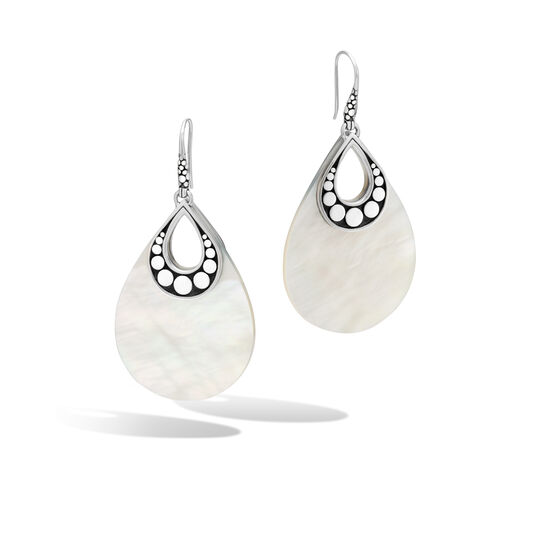 Dot Drop Earring in Silver with Mother of Pearl, White Mother of Pearl, large