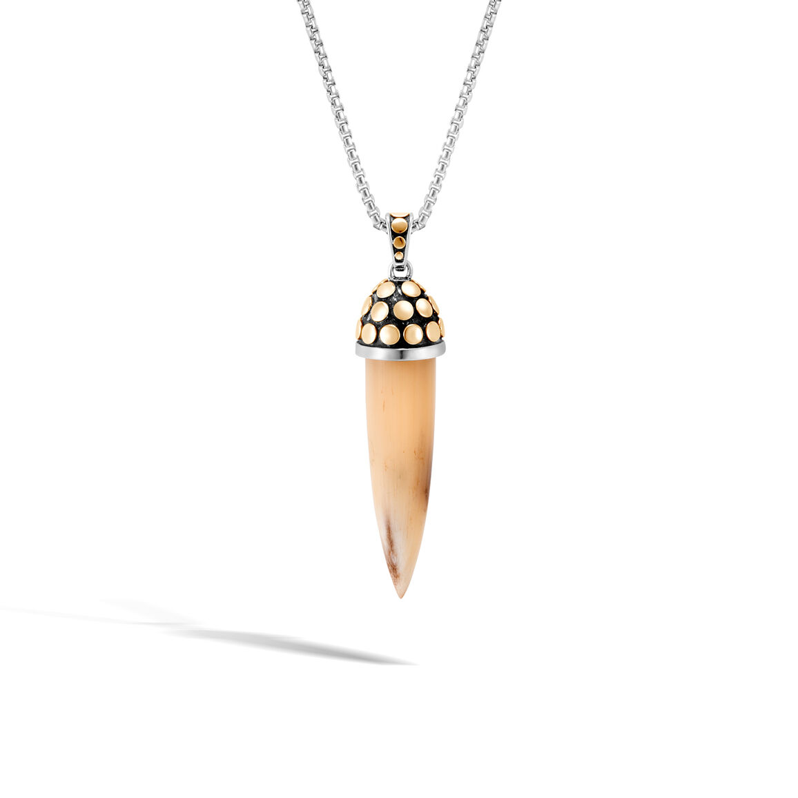 Dot Pendant Necklace in Silver, 18K Gold and Buffalo Horn