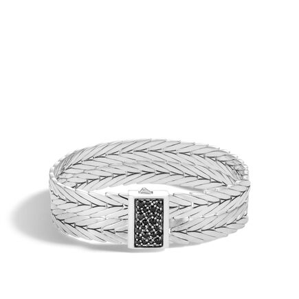 Modern Chain 16MM Double Row Bracelet, Brushed Silver, Gems