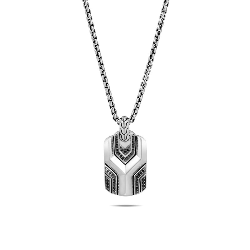 Asli Classic Chain Link Dog Tag Necklace, Silver, Gem