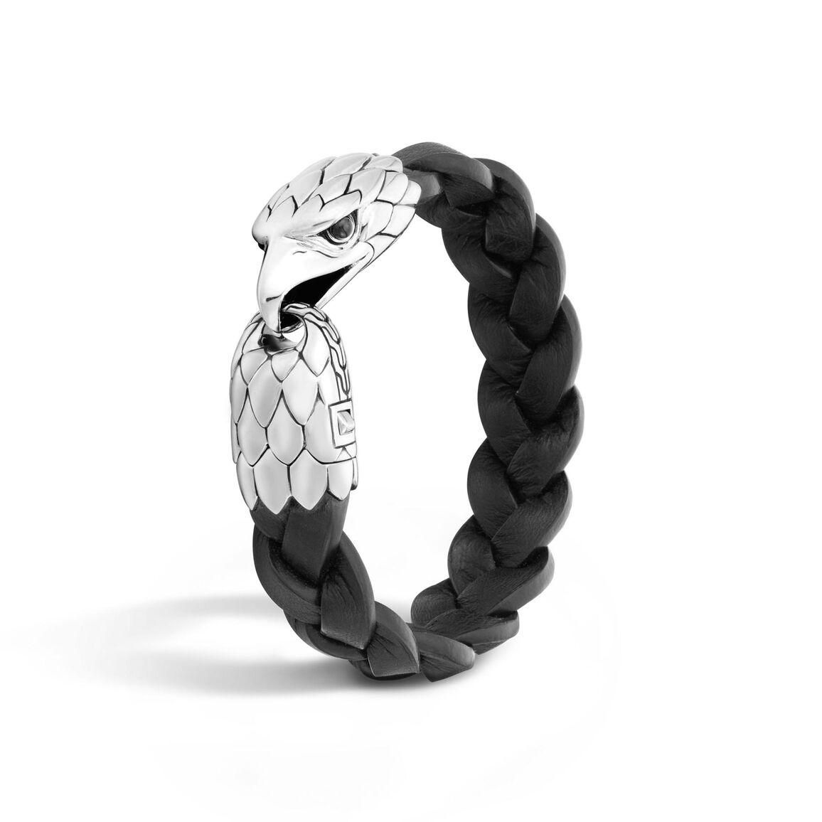 Legends Eagle 17MM Station Bracelet in Silver and Leather