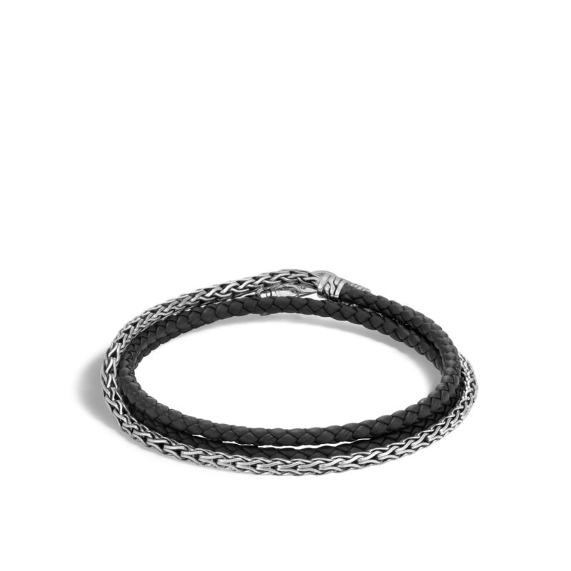 Classic Chain Triple Wrap 3.5mm Bracelet in Silver, Leather, , large