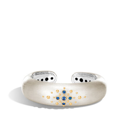 Dot 20MM Kick Cuff, Brushed Silver and 18K Gold, Gemstone