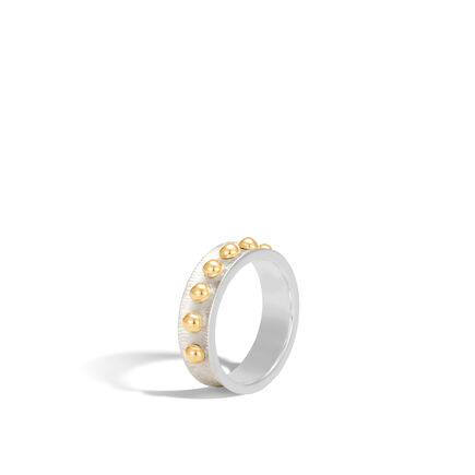Dot 6MM Band Ring in Brushed Silver and 18K Gold