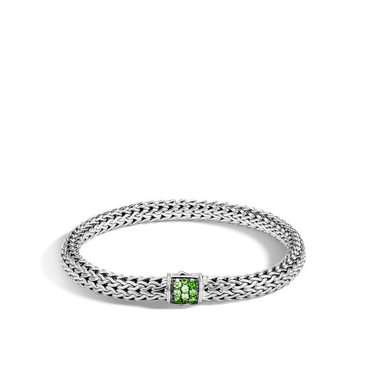 Classic Chain 6.5MM Bracelet in Silver with Gemstone, Chrome Tourmaline, large