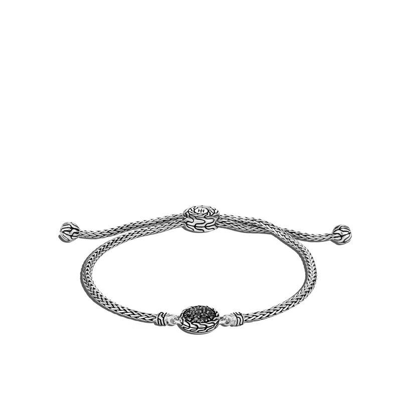 Classic Chain Pull Through Pavé Station Bracelet, Treated Black Sapphire, large