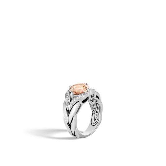 Modern Chain Magic Cut Ring, Silver, 9MM Gemstone, Diamonds, Champagne Topaz, large