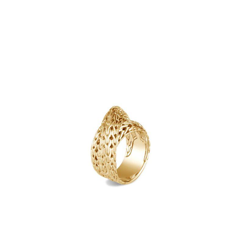 Tiga Classic Chain Overlap Ring in 18K Gold, , large
