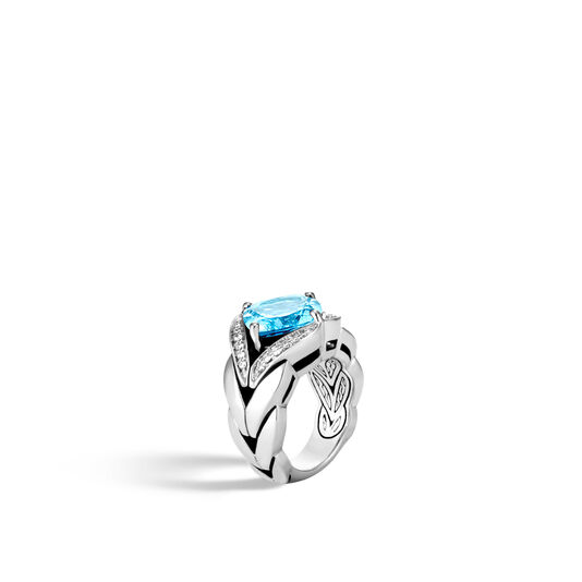 Modern Chain Magic Cut Ring, Silver, 12MM Gemstone, Diamonds, London Blue Topaz, large