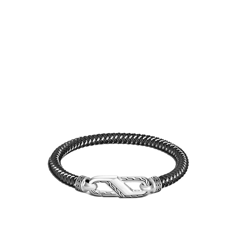 Classic Chain 6MM Bracelet in Silver with Steel Cord, , large