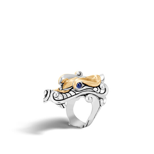 Legends Naga Ring in Silver and Brushed 18K Gold, Blue Sapphire, large