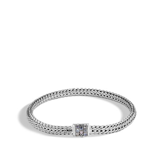 Classic Chain 5MM Bracelet in Silver with Gemstone, Grey Sapphire, large