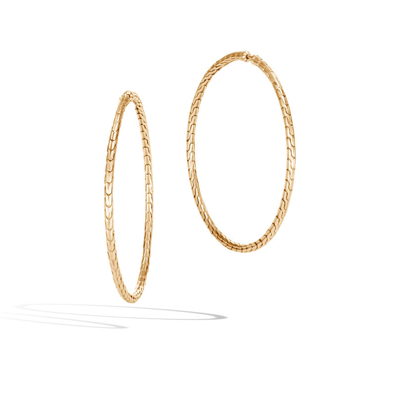 Classic Chain Large Hoop Earring in 18K Gold, , large