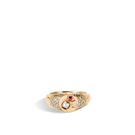 AAxJH Classic Chain Pinky Signet Ring in 18K Gold with Gem and Dia, Pink Tourmaline, large
