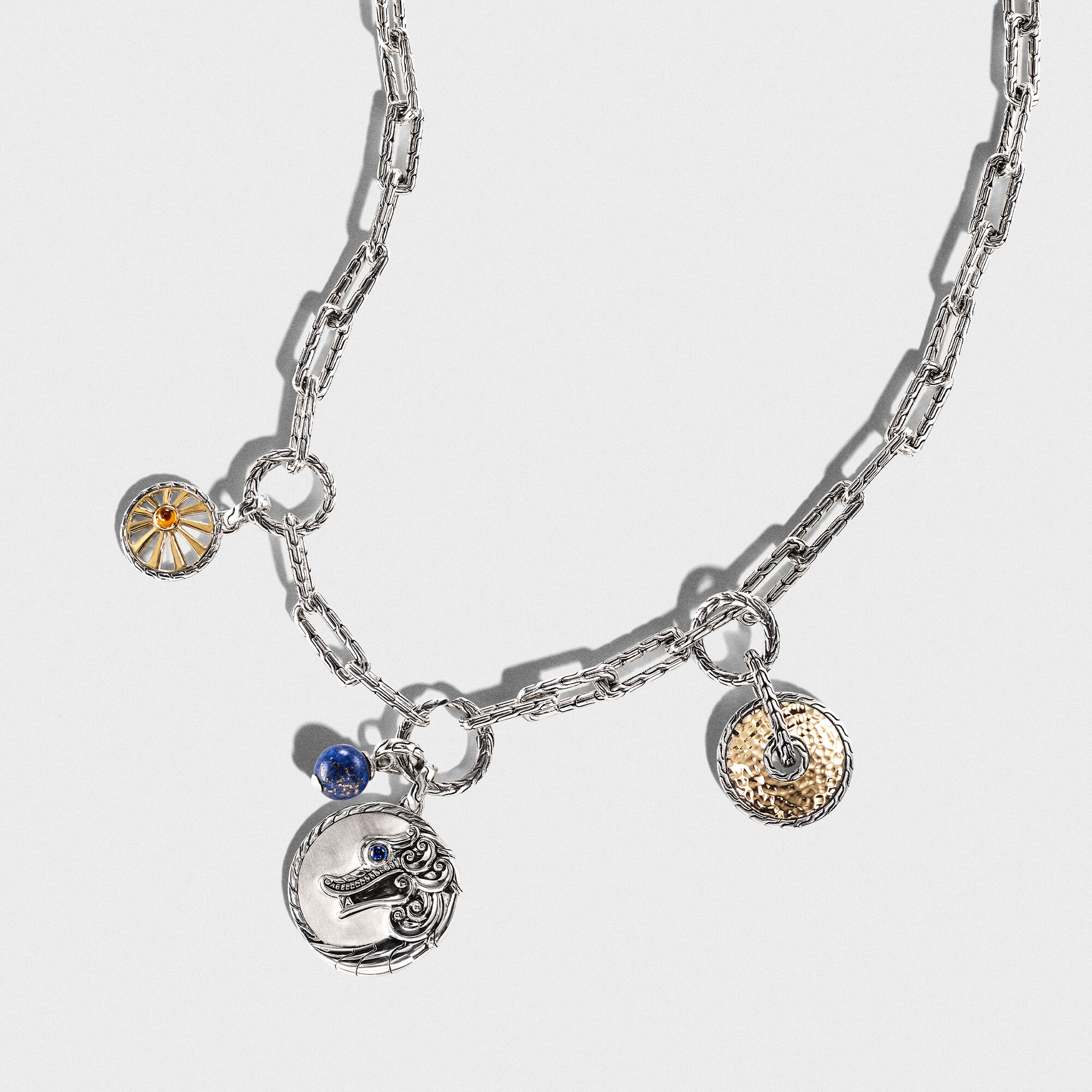 Classic Chain Amulet in Silver and Hammered 18K Gold, , large