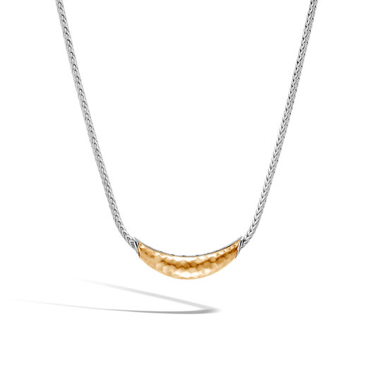 Classic Chain Station Necklace in Silver and Hammered 18K Gold, , large
