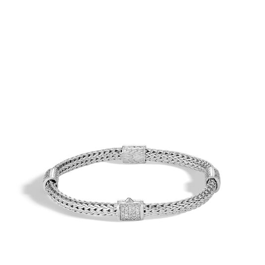 Classic Chain 5MM Bracelet in Silver with Diamonds, White Diamond, large