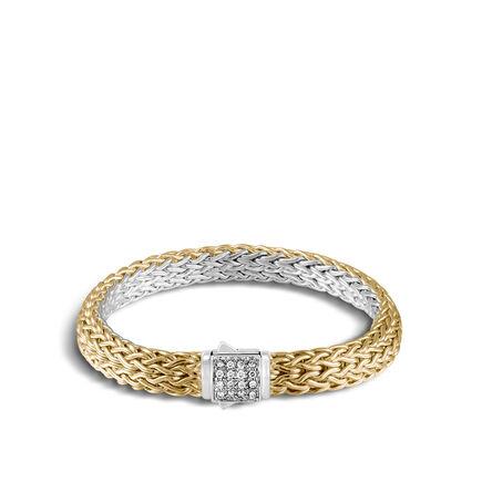 Reversible 7.5MM Bracelet in Silver, 18K Gold , Gemstone and Dia