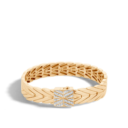 Modern Chain 11MM Bracelet in 18K Gold with Diamonds, White Diamond, large