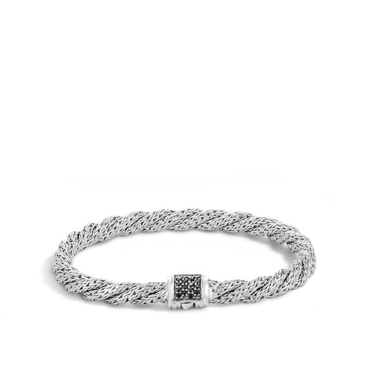 Twisted Chain 5.5MM Bracelet in Silver with Gemstone, Black Sapphire, large