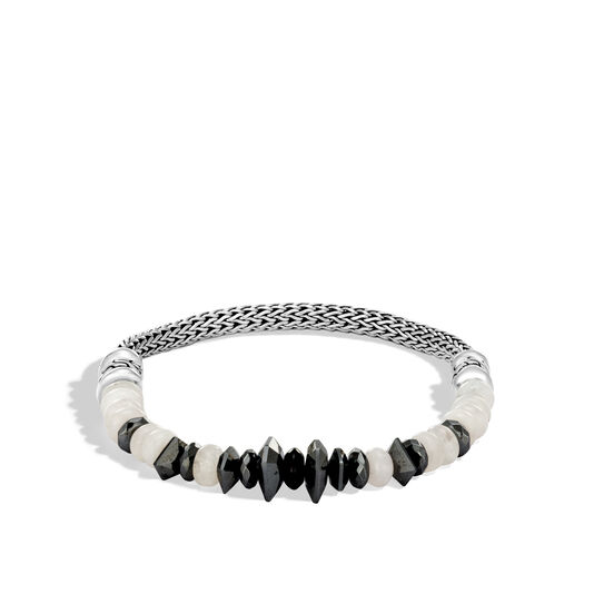Classic Chain 5MM Bracelet in Silver with Gemstone, Hematite, large