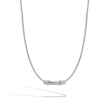 Bamboo Slide Pendant Necklace in Silver