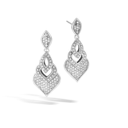 Legends Naga Drop Earring in Silver with Diamonds