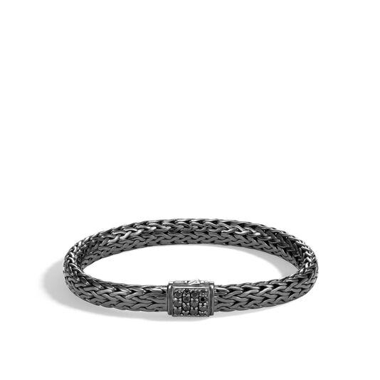 Classic Chain 7.5MM Bracelet in Blackened Silver, Gemstone, Black Sapphire, large