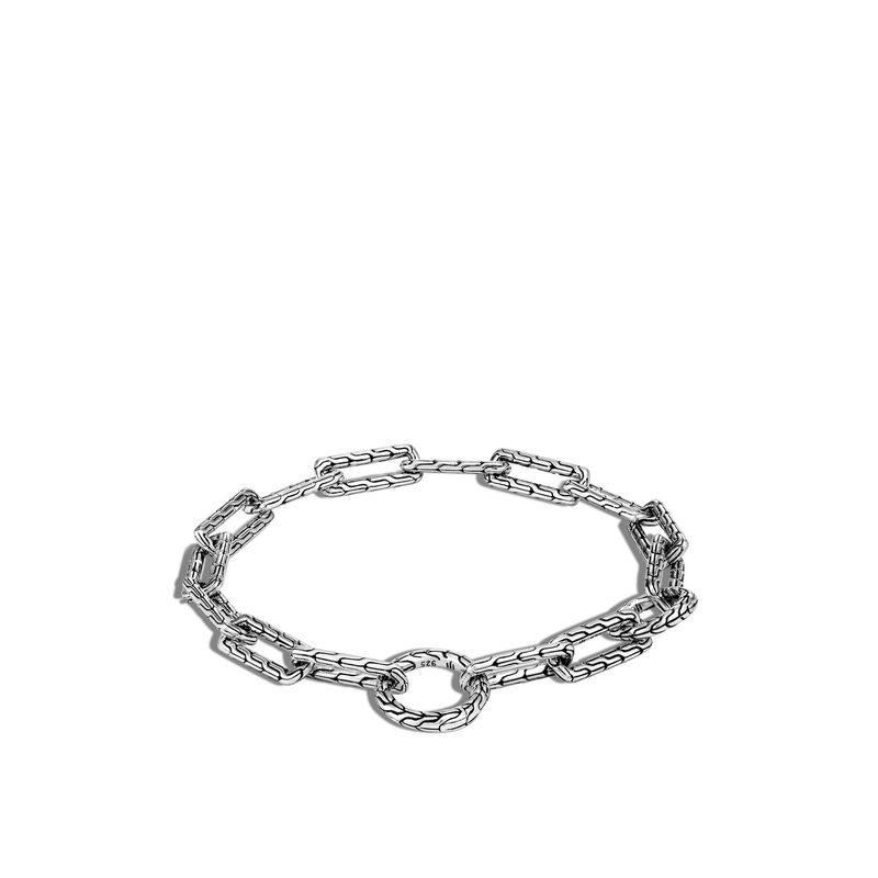 Classic Chain Long Link Amulet Connector Bracelet in Silver, , large