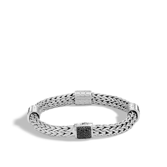 Classic Chain 7.5MM Bracelet in Silver with Gemstone, Black Sapphire, large