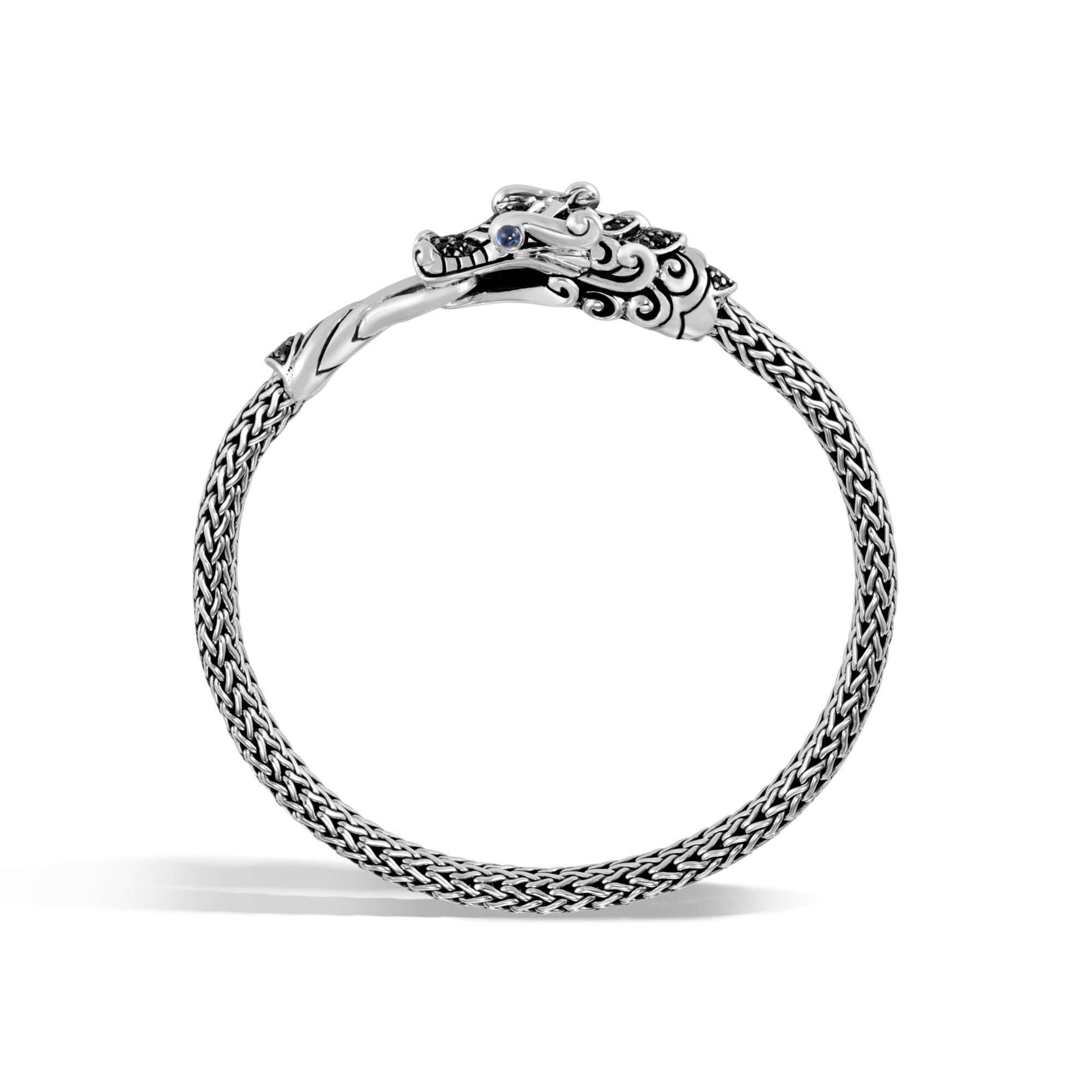 Legends Naga Station Bracelet in Silver , Treated Black Sapphire, large