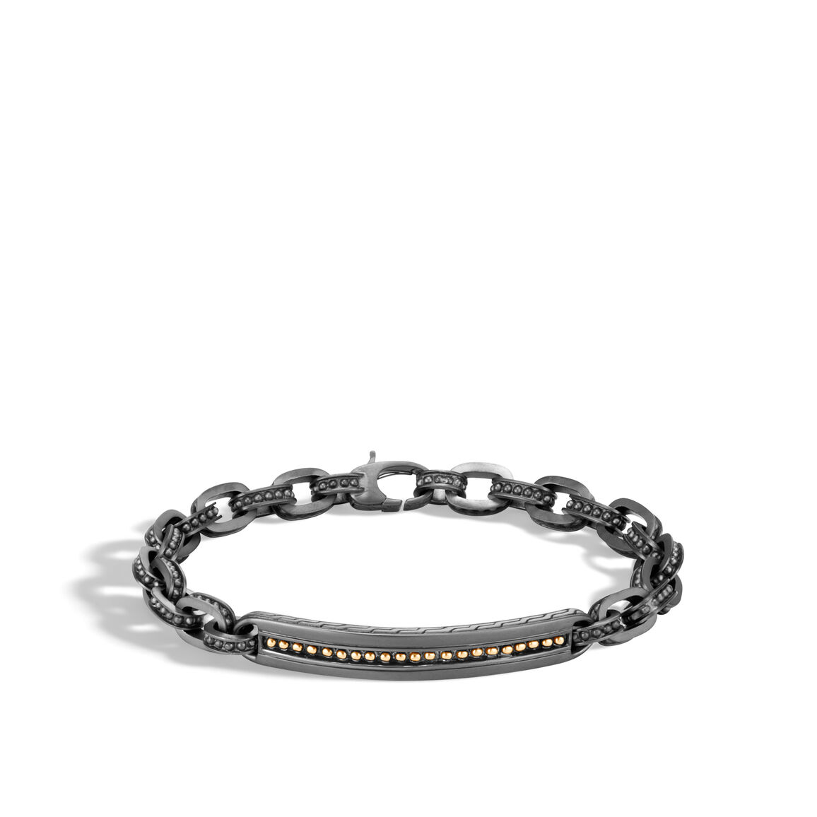 Chain Jawan ID Bracelet in Blackened Silver and 18K Gold