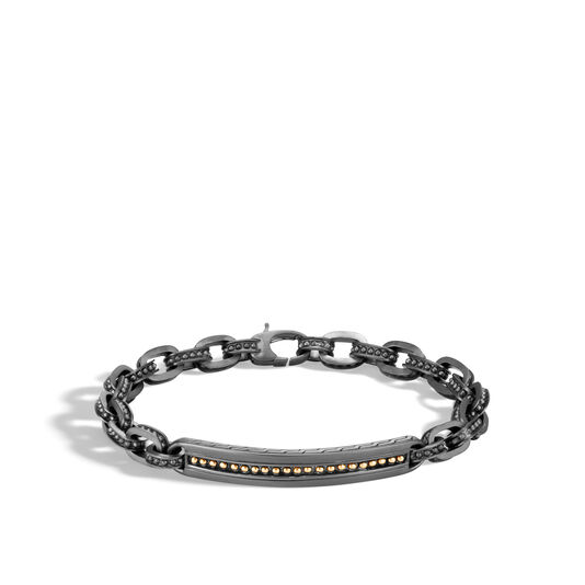 Chain Jawan ID Bracelet in Blackened Silver and 18K Gold, , large