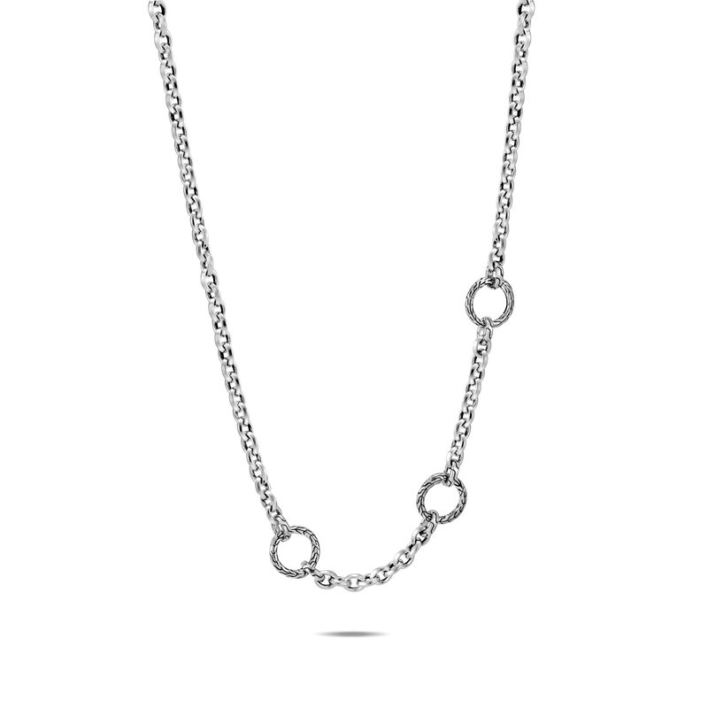 Classic Chain Knife Edge Amulet Connector Necklace in Silver, , large