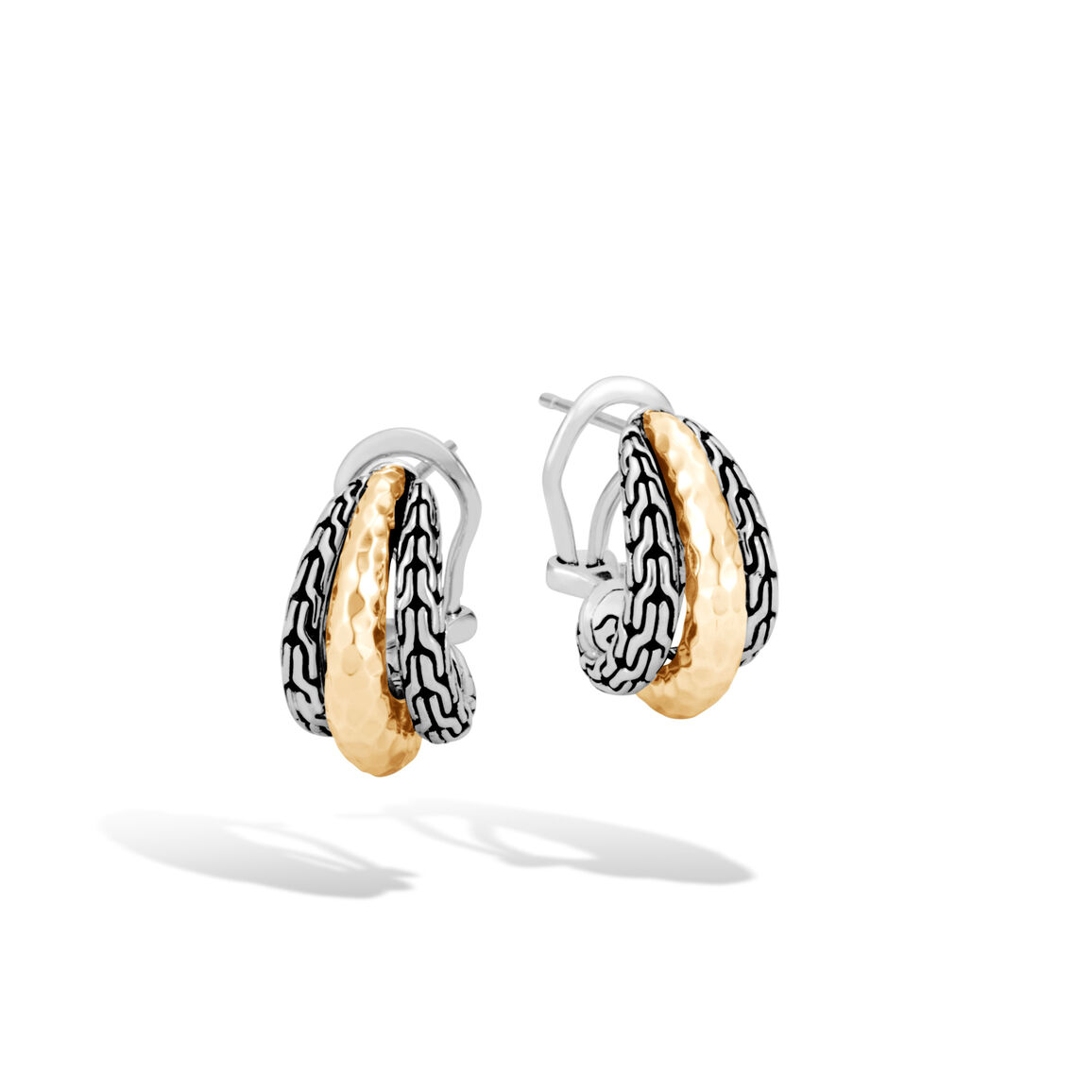 Classic Chain Buddha Belly Earring Silver, Hammered 18K Gold
