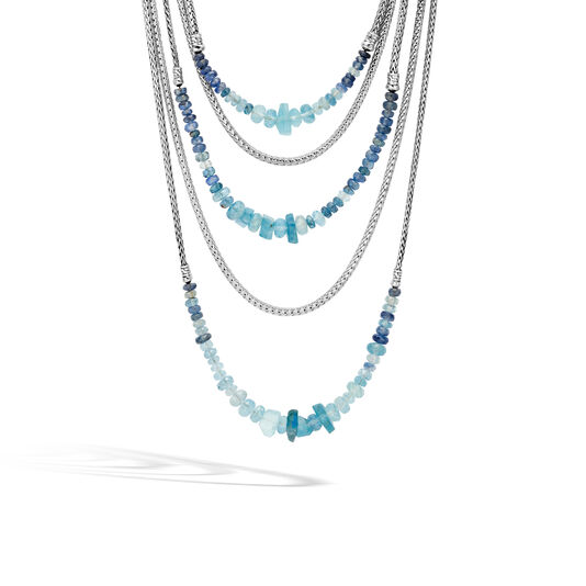Asli Classic Chain Link Bib Necklace in Silver with Gemstone, Aquamarine, large