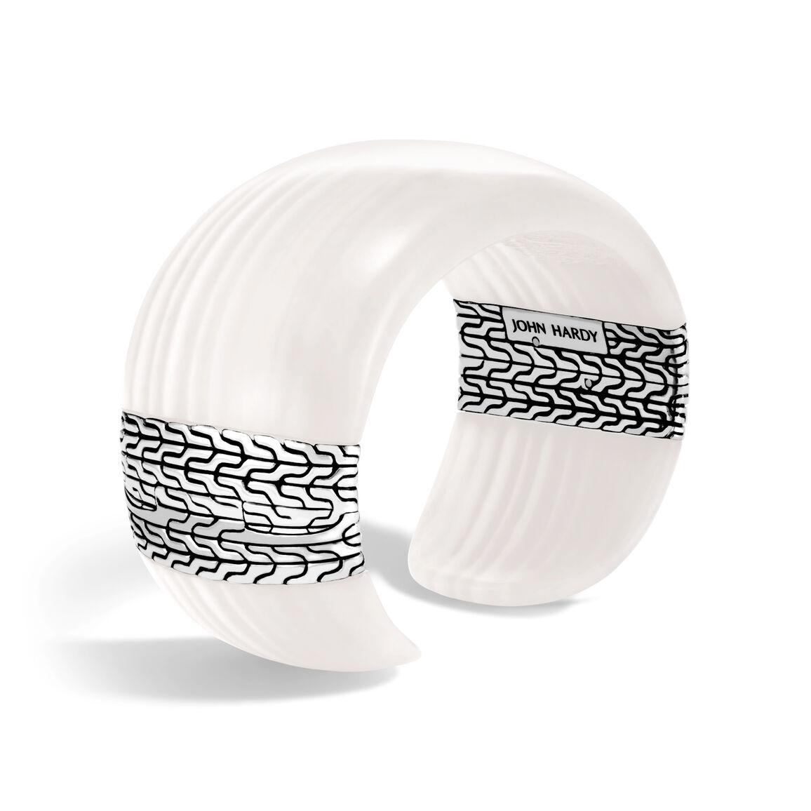 Classic Chain Cuff in Silver with Gemstone