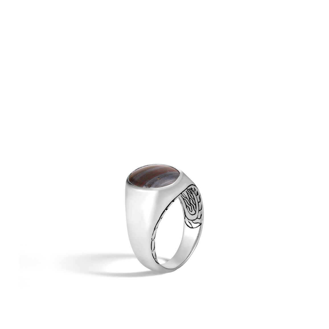 Classic Chain Oval Signet Ring in Silver with Gemstone