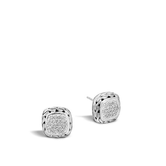Classic Chain Stud Earring in Silver with Diamonds, White Diamond, large