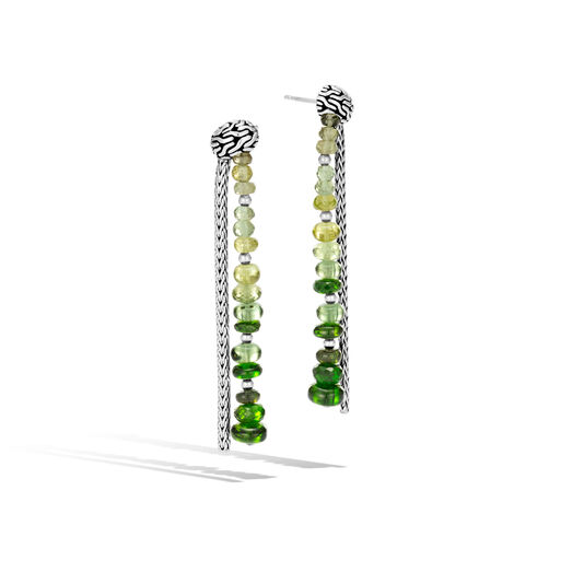 Classic Chain Drop Earring in Silver with Gemstone, Chrome Tourmaline, large