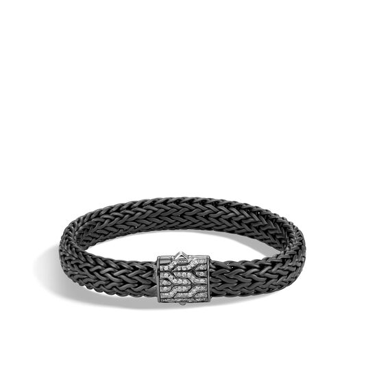 Classic Chain 11MM Bracelet in Blackened Silver, Diamonds, White Diamond, large