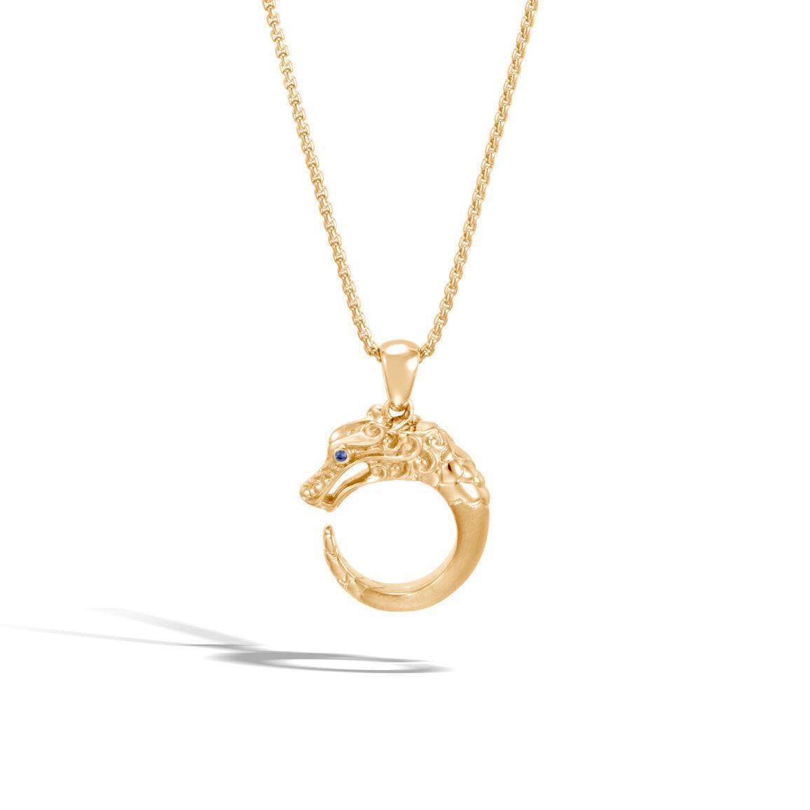 Legends Naga Pendant Necklace in Brushed 18K Gold